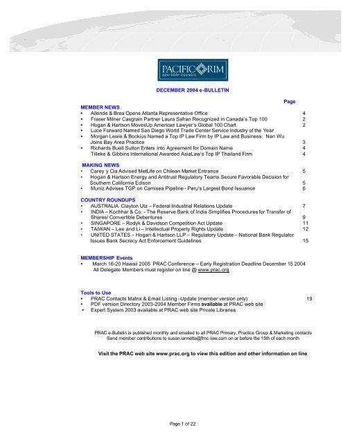 December 2004 e-Bulletin - Pacific Rim Advisory Council (PRAC)