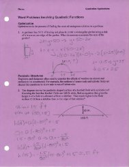 Word Problems Involving Quadratic Functions - Lakeside School