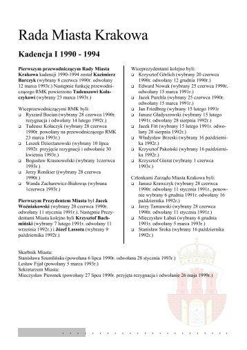 Kadencja I - Biuletyn Informacji Publicznej Miasta Krakowa