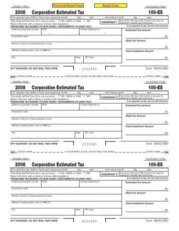 form 100 es 2009 Form 100-ES -- Corporation Estimated Tax - AmeriLawyer.com