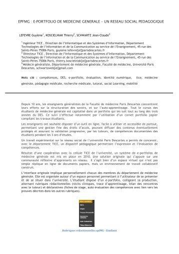 EPFMG : E-PORTFOLIO DE MEDECINE GENERALE – UN RESEAU ...