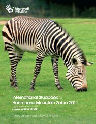 Hartmann's mountain zebra studbook 2011 - Marwell Zoo