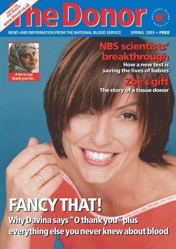 Spring 2003 - National Blood Service