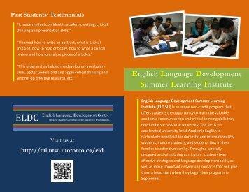 2013 ELD SLI Flyer - Centre for Teaching and Learning