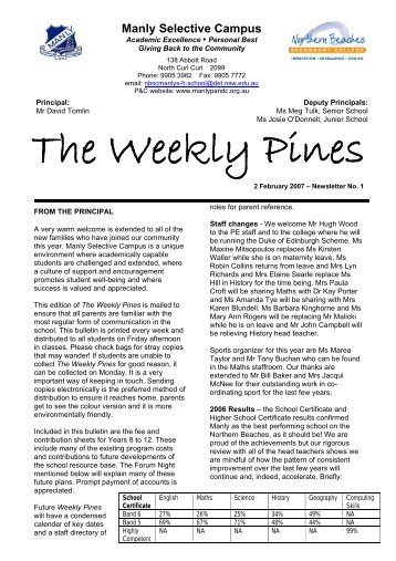 The Weekly Pines - Manly Selective Campus