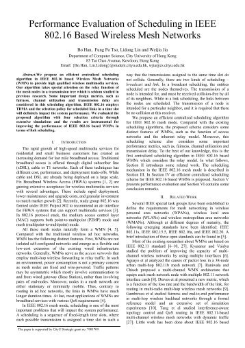 Performance Evaluation of Scheduling in IEEE 802.16 Based ...