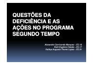 Questões da Deficiência e as ações no Programa Segundo Tempo