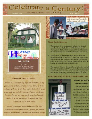 Honoring the Kaske House (1910-2010 ) - Munster Historical Society