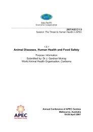 Animal Diseases, Human Health and Food Safety - Australian APEC ...