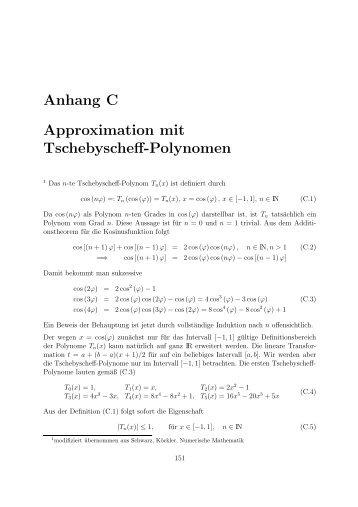 Anhang D Approximation mit Tschebyscheff-Polynomen