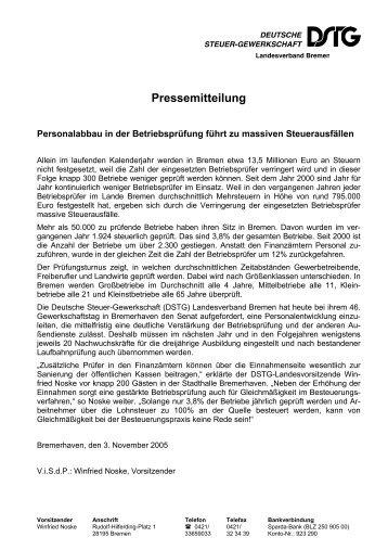 Pressemitteilung - Deutsche Steuer-Gewerkschaft