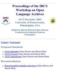 Proceedings - Open Language Archives Community