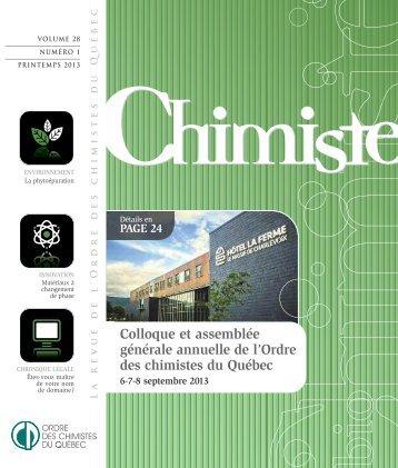 Revue Chimiste Printemps 2013 - Ordre des chimistes du Québec