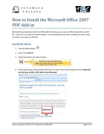 How to Install the Microsoft Office 2007 PDF Add-in