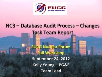 NC3 – Database Audit Process – Changes Task Team Report - EUCG