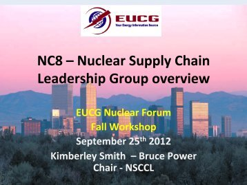 NC8 – Nuclear Supply Chain Leadership Group overview - EUCG