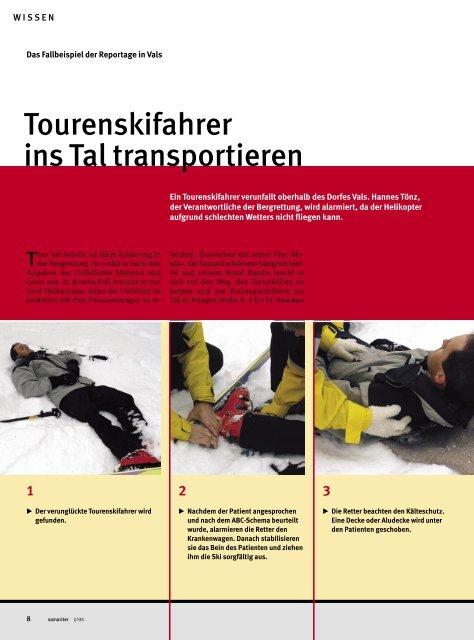 Verletzten Skifahrer ins Tal transportieren