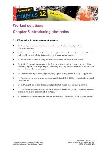 Worked solutions Chapter 5 Introducing photonics - PEGSnet
