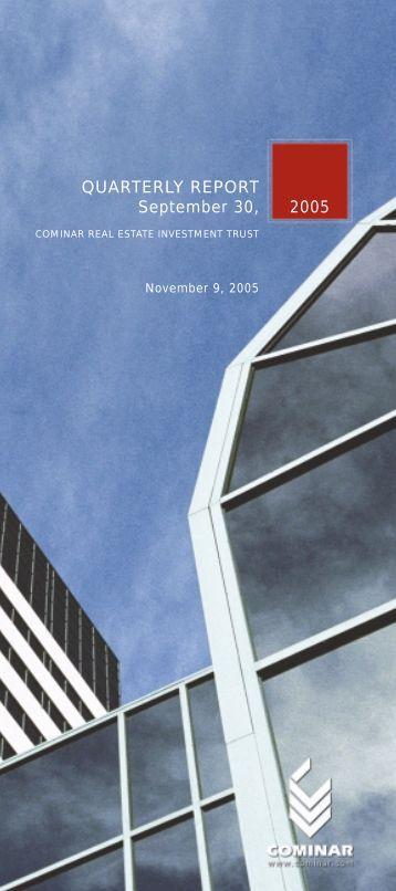 QUARTERLY REPORT September 30, 2005 - Cominar
