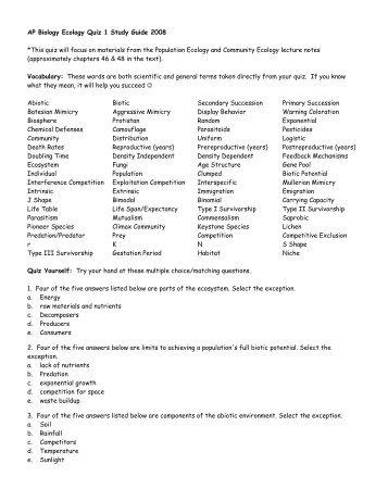Study guide -Ecology Exam 1 - 1 2 3 4 5 6 Ecology Study ...