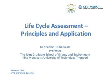 Life Cycle Assessment - The Joint Graduate School of Energy and ...