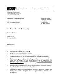 Departement Forstwissenschaften Ökonomie I und II Schriftliche ...