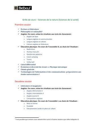 Grille de cours – Sciences de la nature (Sciences de la santé ...