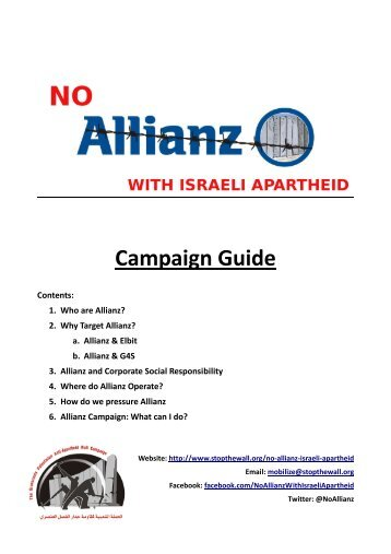 No Allianz with Israeli Apartheid Campaign Guide.pdf - Stop the Wall
