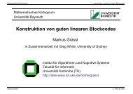 Konstruktion von guten linearen Blockcodes - Mathematisches Institut