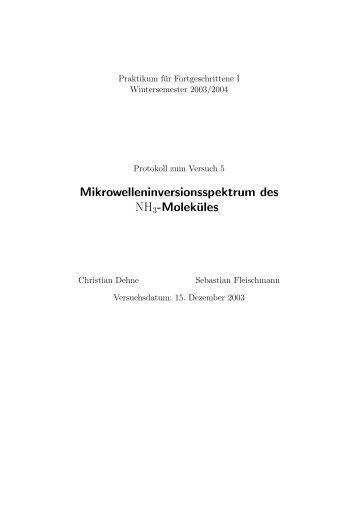 Mikrowelleninversionsspektrum des NH3-Moleküles - fleischmann ...