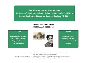 Journées Doctorales des étudiants du Centre d'Histoire Sociale de l ...