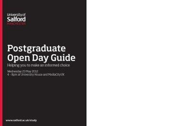 Postgraduate Open Day Guide - University of Salford