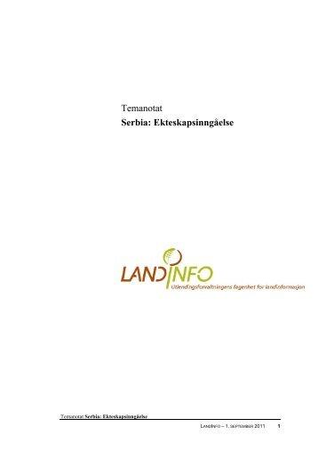 Serbia: Ekteskapsinngåelse 01.09.2011 - LandInfo