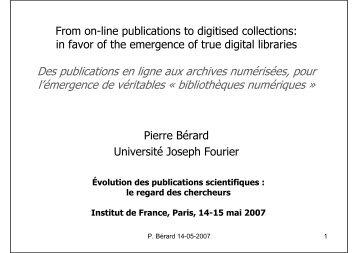 Des publications en ligne aux archives numérisées, pour l ...