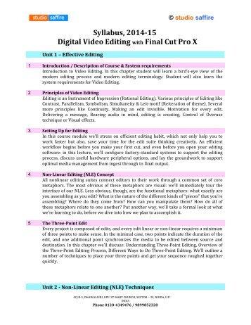 Syllabus- Video Editing with Final Cut Pro X - Studio Saffire
