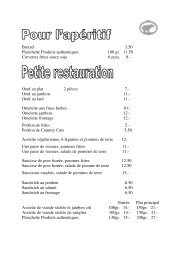 Carte L'Ours franc - Brasserie de l'Ours