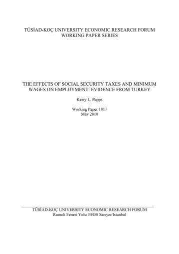 The effects of social security taxes and minimum wages on ... - EAF