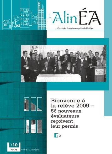 mars 2010 - Ordre des évaluateurs agréés du Québec
