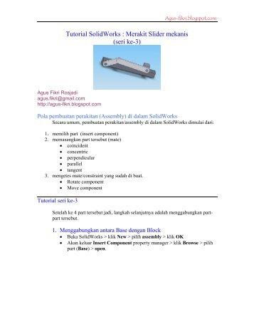 Tutorial SolidWorks : Merakit Slider mekanis (seri ke-3)
