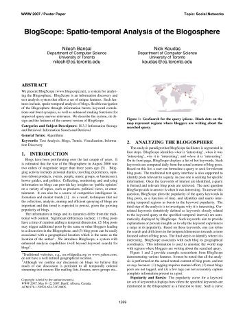BlogScope: Spatio-temporal Analysis of the Blogosphere