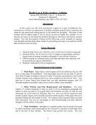Advanced Research Topics in Health Law Seminar - Syllabus