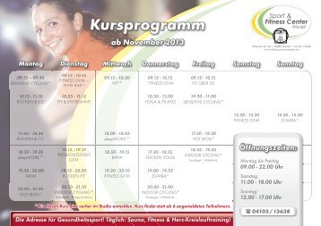 PDF Kursprogramm 2013 - Sport & Fitness Center Wedel