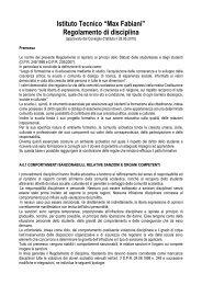 """Istituto Tecnico """"Max Fabiani"""" Regolamento di disciplina"""