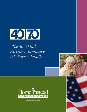 """The 40-70 Rule"" Executive Summary U.S. Survey Results"