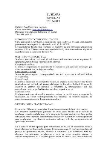 Guía docente nivel A2 - Universidad Pública de Navarra