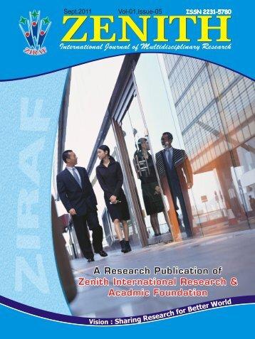 zenith vol-01,issue-05, september 2011 - zenith international journal ...