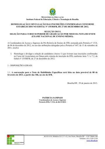 Relação das inscrições confirmadas - IFB