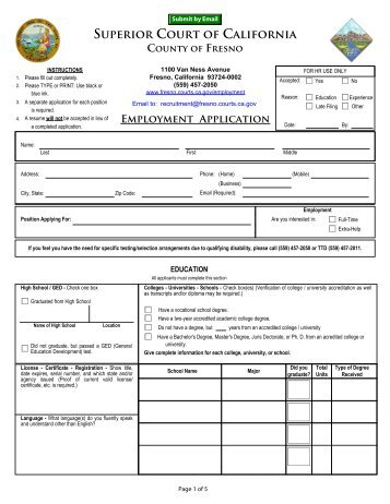 superior court of california county of fresno employment application