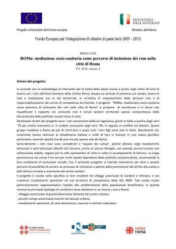 La scheda progetto - Caritas Roma