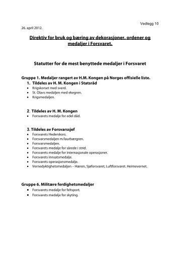 Statutter - Forsvaret